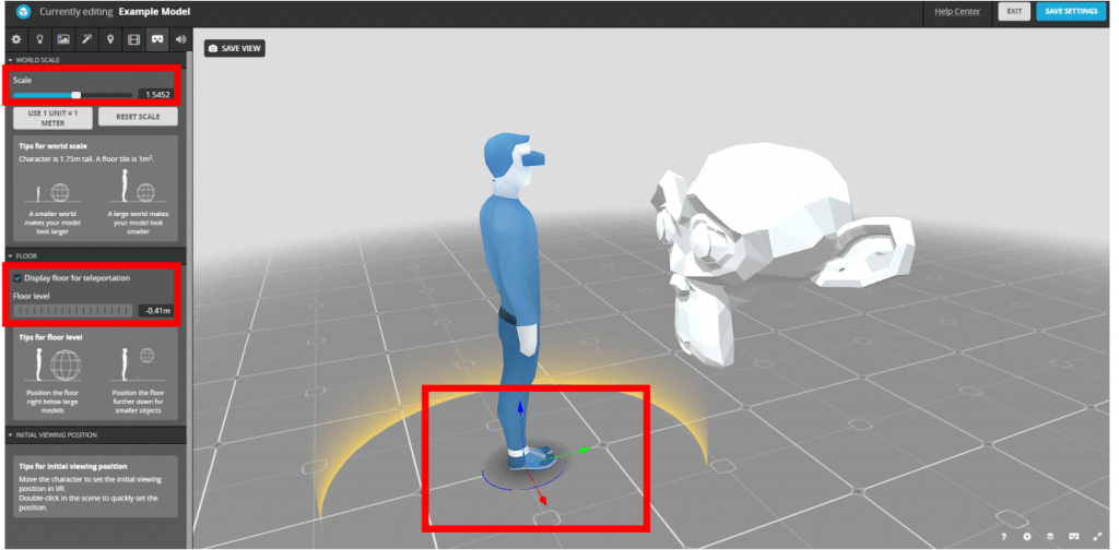 How to set up the 3D model's environment